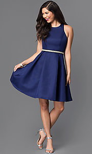 Image of short navy blue fit-and-flare homecoming dress. Style: MT-7758 Detail Image 1