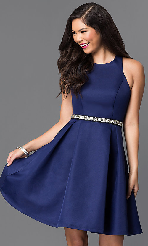 Image of short navy blue fit-and-flare homecoming dress. Style: MT-7758 Front Image