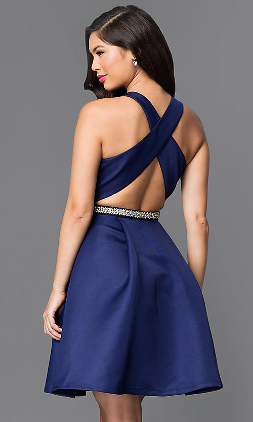 Image of short navy blue fit-and-flare homecoming dress. Style: MT-7758 Back Image