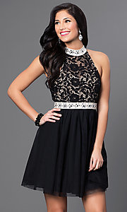 Lace-Bodice Open-Back Jewel-Embellished Party Dress