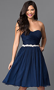 Knee Length Strapless Tulle Dress