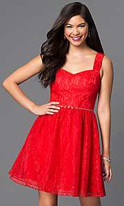 Image of sleeveless short red lace homecoming dress. Style: MT-7501-1 Front Image
