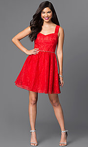 Image of sleeveless short red lace homecoming dress. Style: MT-7501-1 Detail Image 1