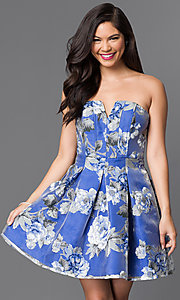 Image of short strapless floral-print homecoming dress. Style: MT-7712-1 Detail Image 2