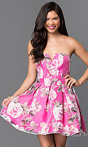 Short Strapless Floral-Print Homecoming Dress