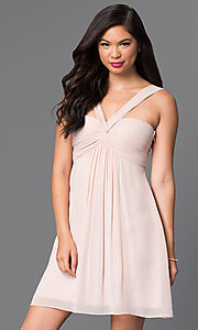Empire-Waist Multi-Strap Short Homecoming Dress