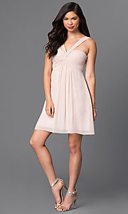Image of empire-waist multi-strap short homecoming dress. Style: MT-8068-1 Detail Image 1