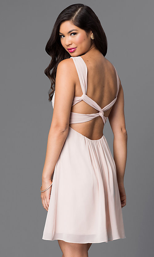 Image of empire-waist multi-strap short homecoming dress. Style: MT-8068-1 Back Image