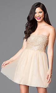 Image of strapless glitter-bodice short gold party dress. Style: MT-7658 Front Image