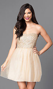 Image of strapless glitter-bodice short gold party dress. Style: MT-7658 Detail Image 1