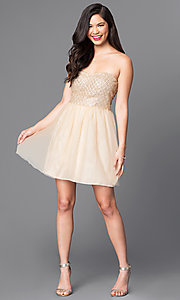 Image of strapless glitter-bodice short gold party dress. Style: MT-7658 Detail Image 2