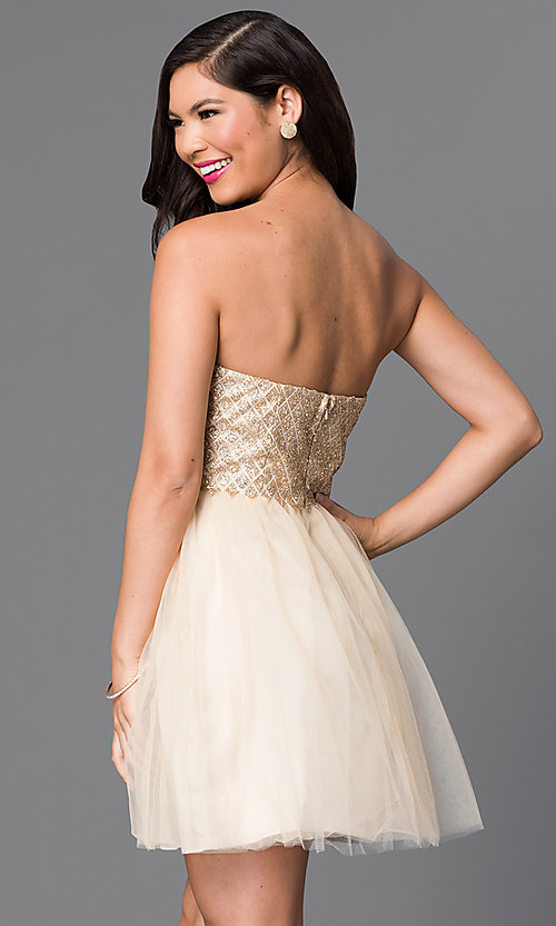 Image of strapless glitter-bodice short gold party dress. Style: MT-7658 Back Image