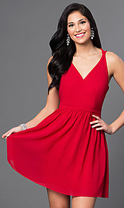 Red V-Neck Short T-Back Homecoming Dress