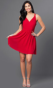 Image of red v-neck short t-back homecoming dress . Style: MT-7418-1 Detail Image 1