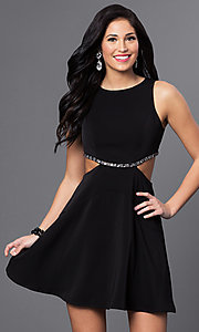 Image of short mock two-piece black homecoming dress. Style: MT-8155 Front Image