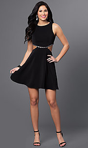 Image of short mock two-piece black homecoming dress. Style: MT-8155 Detail Image 1