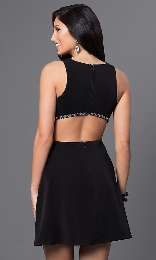 Image of short mock two-piece black homecoming dress. Style: MT-8155 Back Image