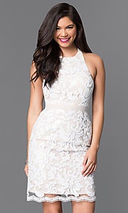 Image of short white and nude sequin halter homecoming dress. Style: MT-7980 Front Image