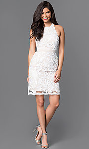 Image of short white and nude sequin halter homecoming dress. Style: MT-7980 Detail Image 1
