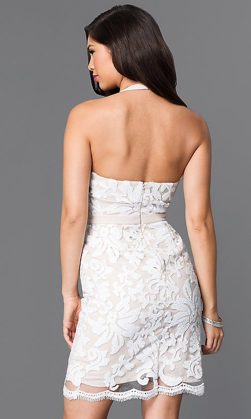 Image of short white and nude sequin halter homecoming dress. Style: MT-7980 Back Image