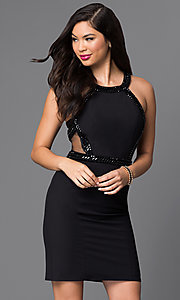 Black Homecoming Dress with Sheer Sides and Back