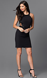 Image of black homecoming dress with sheer sides and back. Style: MT-7459-1 Detail Image 1