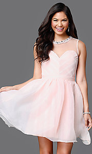 Sleeveless Illusion and Tulle Sweetheart Dress