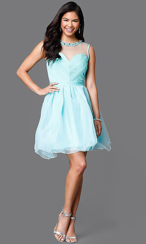 Image of short sleeveless illusion and tulle sweetheart dress Style: CL-Di259 Detail Image 1