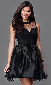 Sleeveless Sweetheart Illusion-Lace Mesh Short Dress