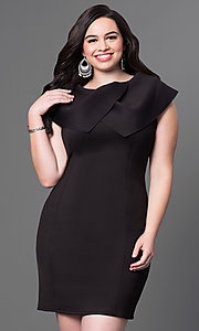 Image of sleeveless high-neck short plus-size dress. Style: INA-60099BDA Detail Image 1