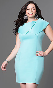 Image of sleeveless high-neck short plus-size dress. Style: INA-60099BDA Front Image