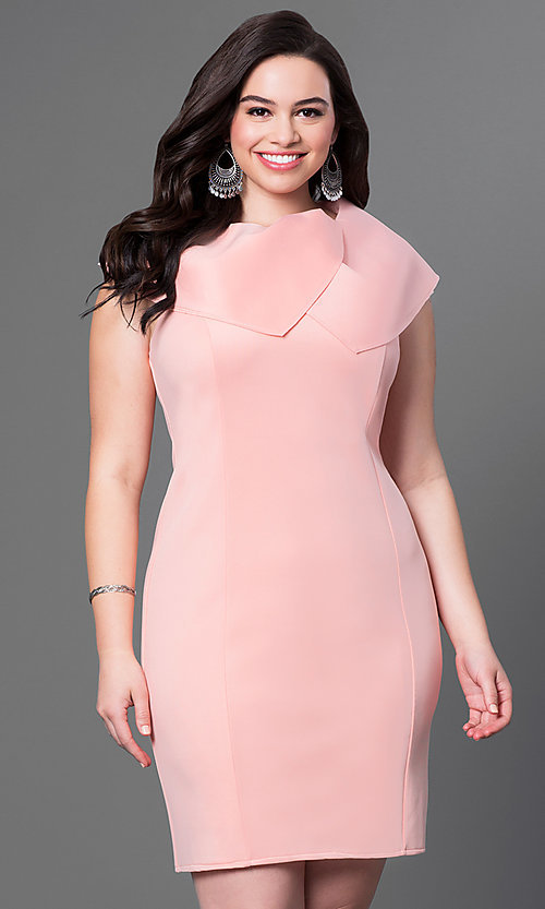 Image of sleeveless high-neck short plus-size dress. Style: INA-60099BDA Detail Image 3