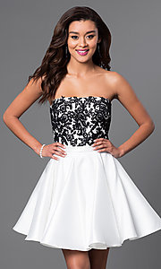 Short Lace Bodice A-Line Dress