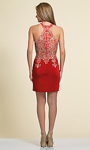 Image of short high-neck Dave & Johnny homecoming dress. Style: DJ-2973 Detail Image 4