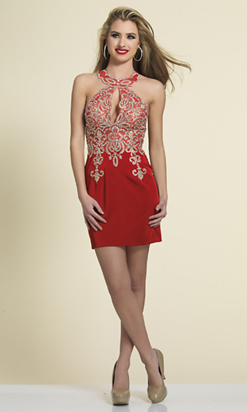 Image of short high-neck Dave & Johnny homecoming dress. Style: DJ-2973 Detail Image 3