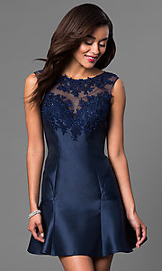 Navy Blue Short Open Back Dress