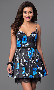 Short Floral Print Spaghetti Strap Dress