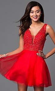 Image of short red v-neck semi-formal dress with beads. Style: DJ-A4190 Front Image
