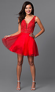 Image of short red v-neck semi-formal dress with beads. Style: DJ-A4190 Detail Image 2