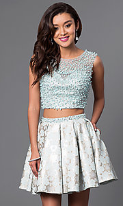 Short Two Piece Dress with Beaded Bodice