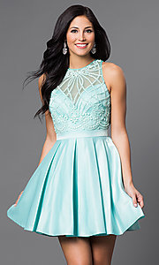 Bead Embellished Sweetheart Bodice Short Dress