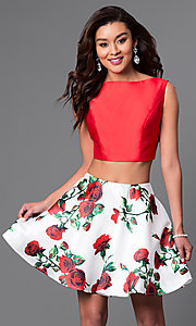 Image of Dave and Johnny two-piece short print-skirt dress. Style: DJ-A4511 Front Image