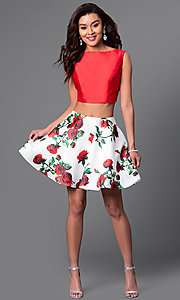 Image of Dave and Johnny two-piece short print-skirt dress. Style: DJ-A4511 Detail Image 1