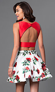 Image of Dave and Johnny two-piece short print-skirt dress. Style: DJ-A4511 Back Image