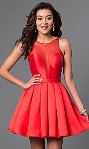 Image of short red Dave and Johnny homecoming party dress. Style: DJ-A4513 Front Image