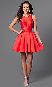 Image of short red Dave and Johnny homecoming party dress. Style: DJ-A4513 Detail Image 1