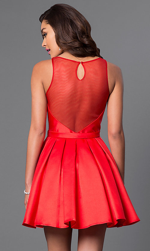 Image of short red Dave and Johnny homecoming party dress. Style: DJ-A4513 Back Image