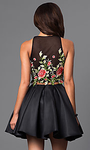 Image of two-piece short lace-bodice black dress.  Style: DJ-A4515 Back Image