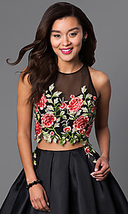 Image of two-piece short lace-bodice black dress.  Style: DJ-A4515 Detail Image 1
