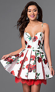 Short V-Neck Spaghetti Strap Floral Dress